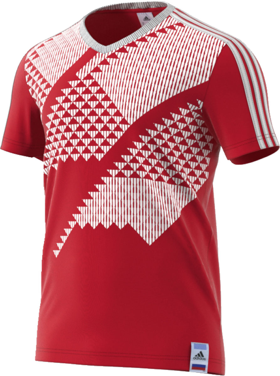 Футболка мужская Adidas Russia Ci Tee, цвет: красный, белый. CF1692. Размер M (48/50)CF1692Футбол — это не только спорт. Это особенный стиль и культура. Поддерживай любимую сборную в этой футболке. Дизайн выполнен в стиле формы сборной СССР на чемпионате 1990 года. Модель выполнена из мягкого хлопкового трикотажа, имеет рифленый V-образный вороти короткие рукава. Внутренний шов ворота обработан тесьмой. Финальный штрих — принт Россия на спине.