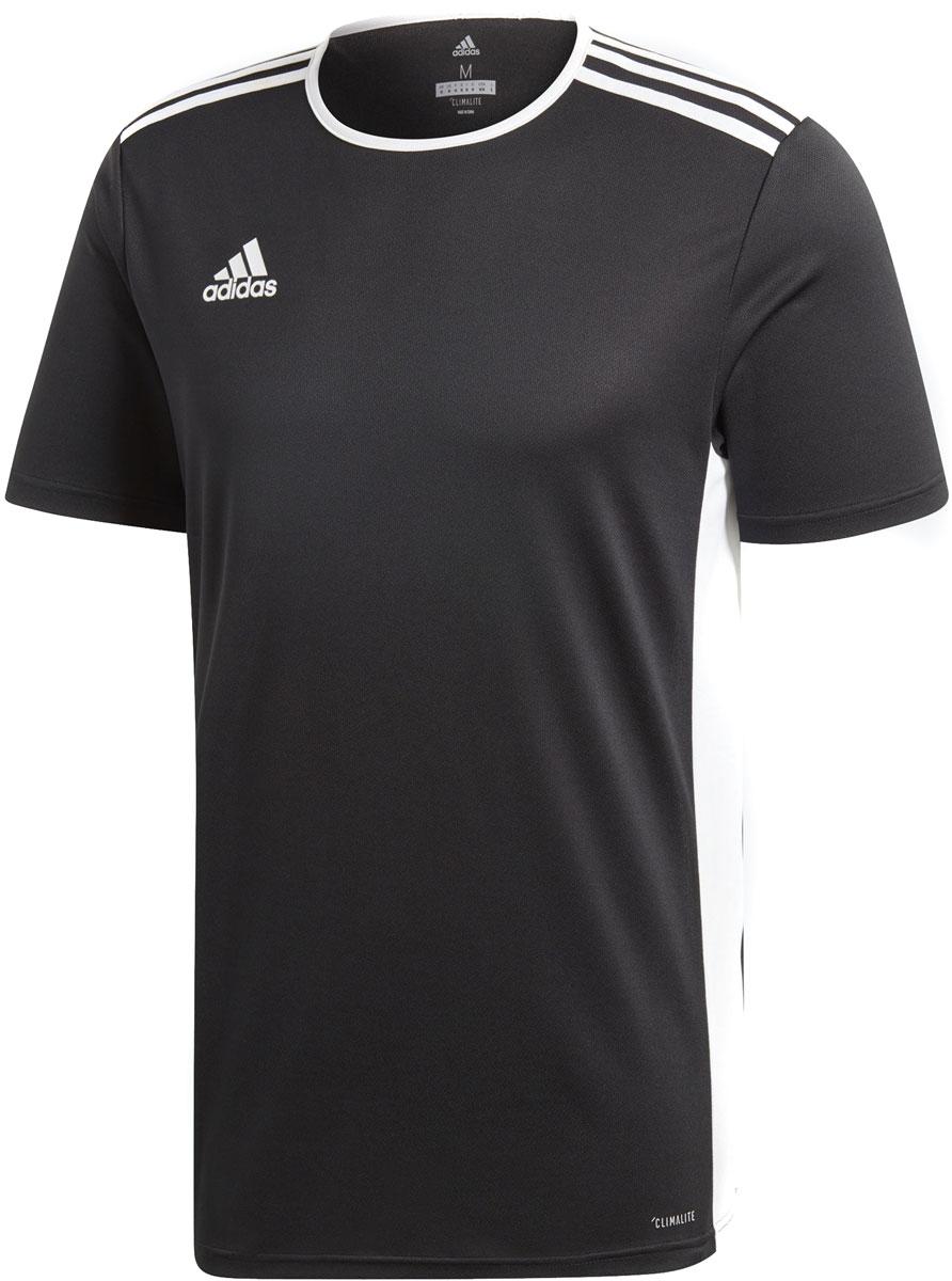 Футболка мужская Adidas Entrada 18 Jsy, цвет: черный, белый. CF1035. Размер M (48/50)CF1035Часами отрабатывай навыки, чтобы в нужный момент забить решающий гол. Эта мужская футболка из отводящей влагу ткани сохранит твое тело сухим во время длительных тренировок. Логотип adidas подчеркнет спортивный стиль.Ткань с технологией climalite® быстро и эффективно отводит влагу с поверхности кожи, поддерживая комфортный микроклиматКонтрастный круглый воротКонтрастные боковые панелиТермологотип adidas справа на грудиЭта модель — часть экологической программы adidas: использованы технологии, сберегающие природные ресурсы; каждая нить имеет значение: переработанный полиэстер сохраняет природные ресурсы и уменьшает отходы производстваКлассический крой
