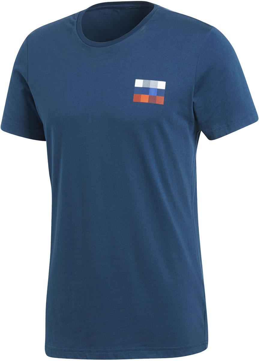 Футболка мужская Adidas Rfu Sgr Tee, цвет: синий. CF0574. Размер XXL (60/62) свитшот мужской reebok f taped crewneck цвет синий bk3803 размер xxl 60 62