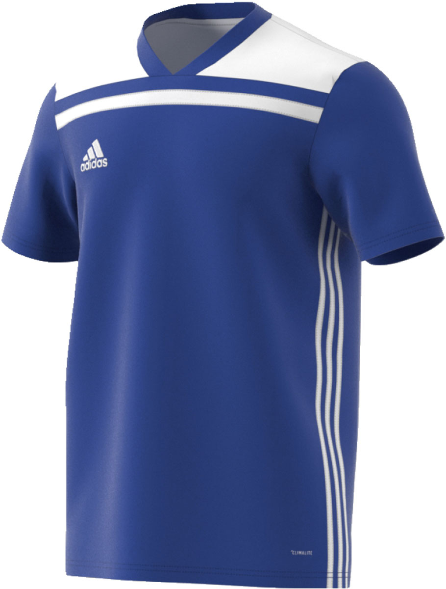 Футболка мужская Adidas Regista 18 Jsy, цвет: синий, белый. CE8965. Размер S (44/46)CE8965Футболка, которая пригодится на любой тренировке. Легкий материал с технологией Climalite эффективно отводит излишки влаги, обеспечивая комфорт. Логотип adidas на груди. adidas заботится об окружающей среде при производстве товаров. Эта модель выполнена из переработанного полиэстера с целью сохранения ресурсов и уменьшения вредных выбросов в атмосферу.Технология Climalite отводит излишки влаги, обеспечивая комфортное ощущение сухости в любых условияхРифленый V-образный воротТекстурная ткань меланж на плечахТермологотип adidas на грудиКлассический крой с более широкой основной частью; прямой силуэт
