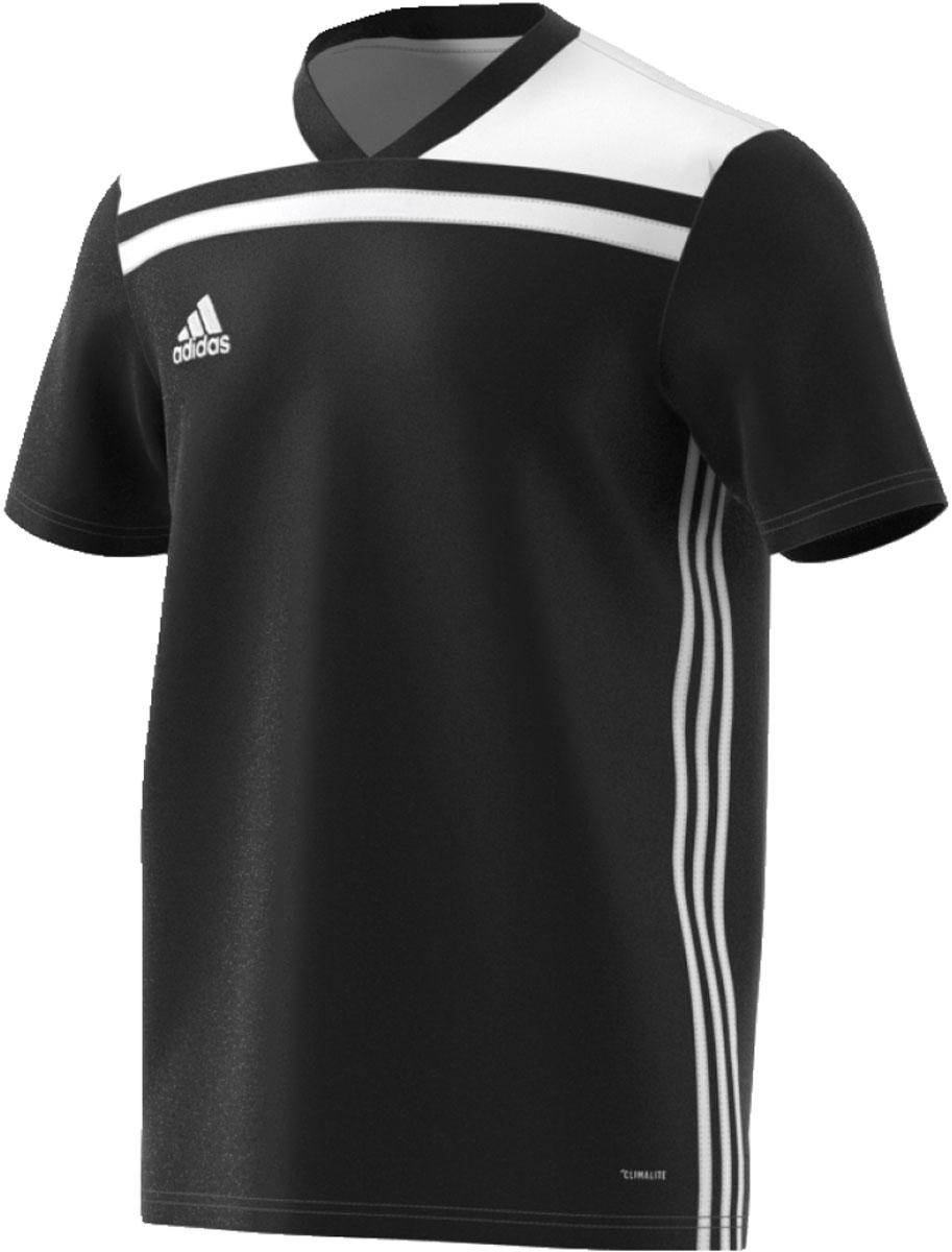 Футболка мужская Adidas Regista 18 Jsy, цвет: черный, белый. CE8967. Размер M (48/50)CE8967Футболка, которая пригодится на любой тренировке. Легкий материал с технологией Climalite эффективно отводит излишки влаги, обеспечивая комфорт. Логотип adidas на груди. adidas заботится об окружающей среде при производстве товаров. Эта модель выполнена из переработанного полиэстера с целью сохранения ресурсов и уменьшения вредных выбросов в атмосферу.Технология Climalite отводит излишки влаги, обеспечивая комфортное ощущение сухости в любых условияхРифленый V-образный воротТекстурная ткань меланж на плечахТермологотип adidas на грудиКлассический крой с более широкой основной частью; прямой силуэт