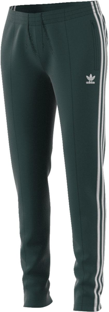 Брюки женские Adidas Sst Tp, цвет: темно-зеленый. CE2404. Размер 42 (48)CE2404Современная модель со спортивным прошлым. Женские брюки с хорошо узнаваемыми аутентичными деталями в стиле модели SST. Гладкий трикотаж, облегающий крой и декоративные стрелки на лицевой стороне. Три полоски завершают винтажный образ.Боковые прорезные карманыЭластичный пояс на регулируемых завязках-шнуркахДекоративные стрелки спередиТрилистник на ногеКонтрастные три полоски по бокам