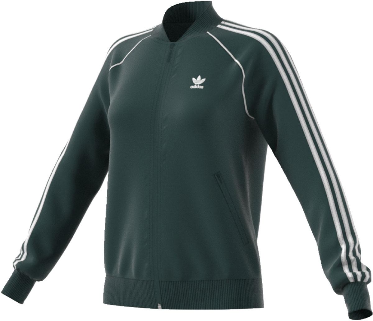 Олимпийка женская Adidas Sst Tt, цвет: темно-зеленый. CE2396. Размер 42 (48)CE2396Современная модель в архивном спортивном стиле. Женская олимпийка с хорошо узнаваемыми аутентичными деталями. Гладкий трикотаж и три полоски на рукавах подчеркивают винтажный дизайн, повторяющий силуэт модели SST.Передние карманы на молнииЗастежка на молнию; рифленый воротник, как на архивной олимпийке SSTКонтрастная отделка на рукавахРифленые манжеты и нижний крайТрилистник на груди