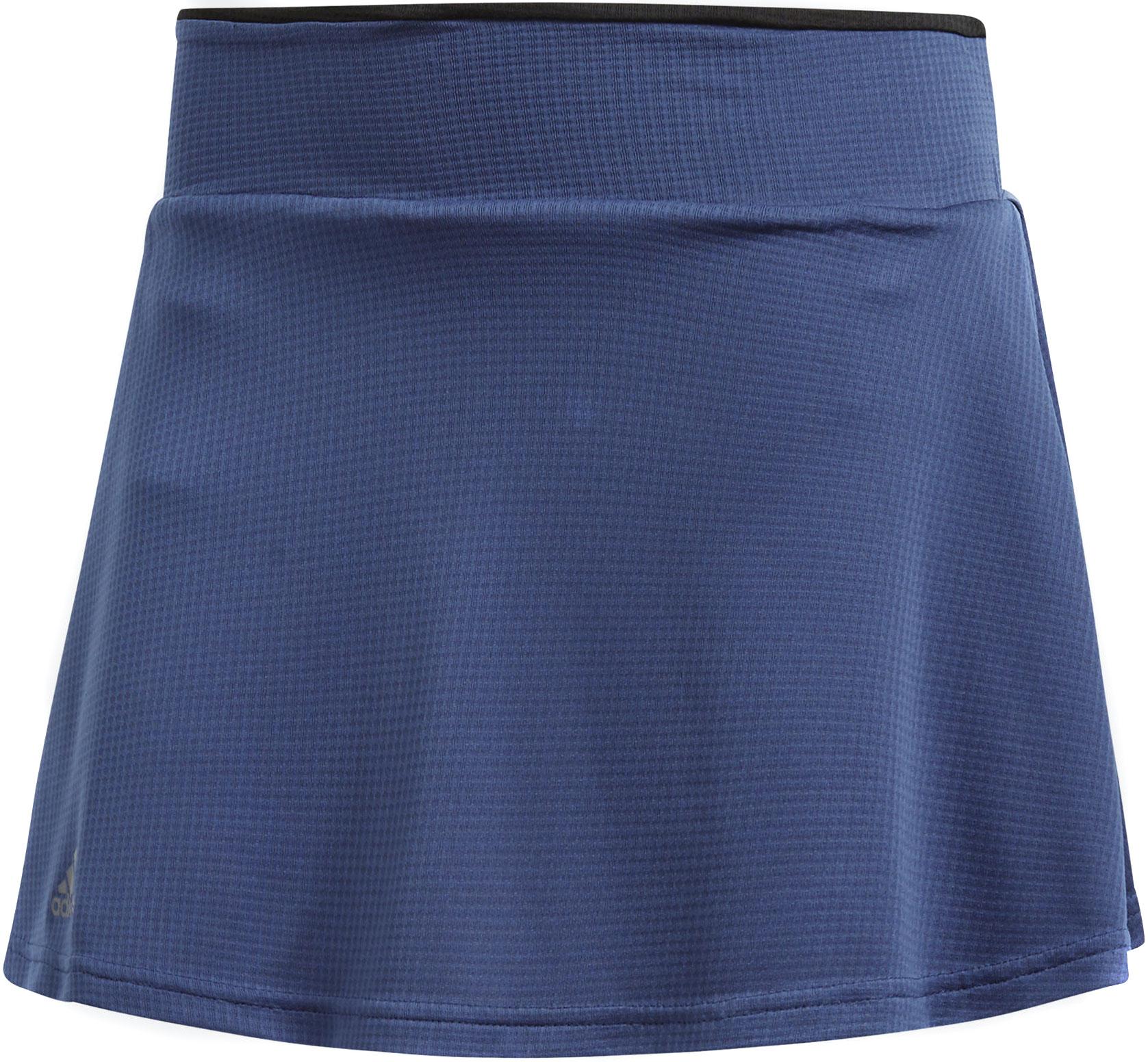 Юбка Adidas Clmchll Skirt, цвет: синий. CE1457. Размер L (48/50)CE1457Теннисная юбка от Adidas дарит ощущение свежести и прохлады даже во время самых длинных розыгрышей и самых напряженных тай-брейков. Технология Climachill способствует комфорту в жаркую погоду: микрофибра и титановые волокна хорошо охлаждают и отводят излишки влаги. Модель дополнена вшитыми шортами и защитой от УФ-лучей 50+.