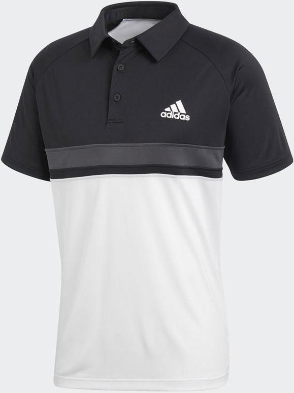 Поло мужское Adidas Club C/B Polo, цвет: черный, белый. CE1420. Размер S (44/46)CE1420Классическое поло с фирменным логотипом Adidas выполнено из полиэстера. Модель с короткими рукавами и отложным воротником застегивается сверху на пуговицы. Изделие оформлено стильными контрастными полосками.
