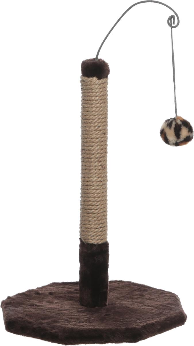 Когтеточка Велес, с игрушкой, цвет: коричневый, 35 х 35 х 53 см 35