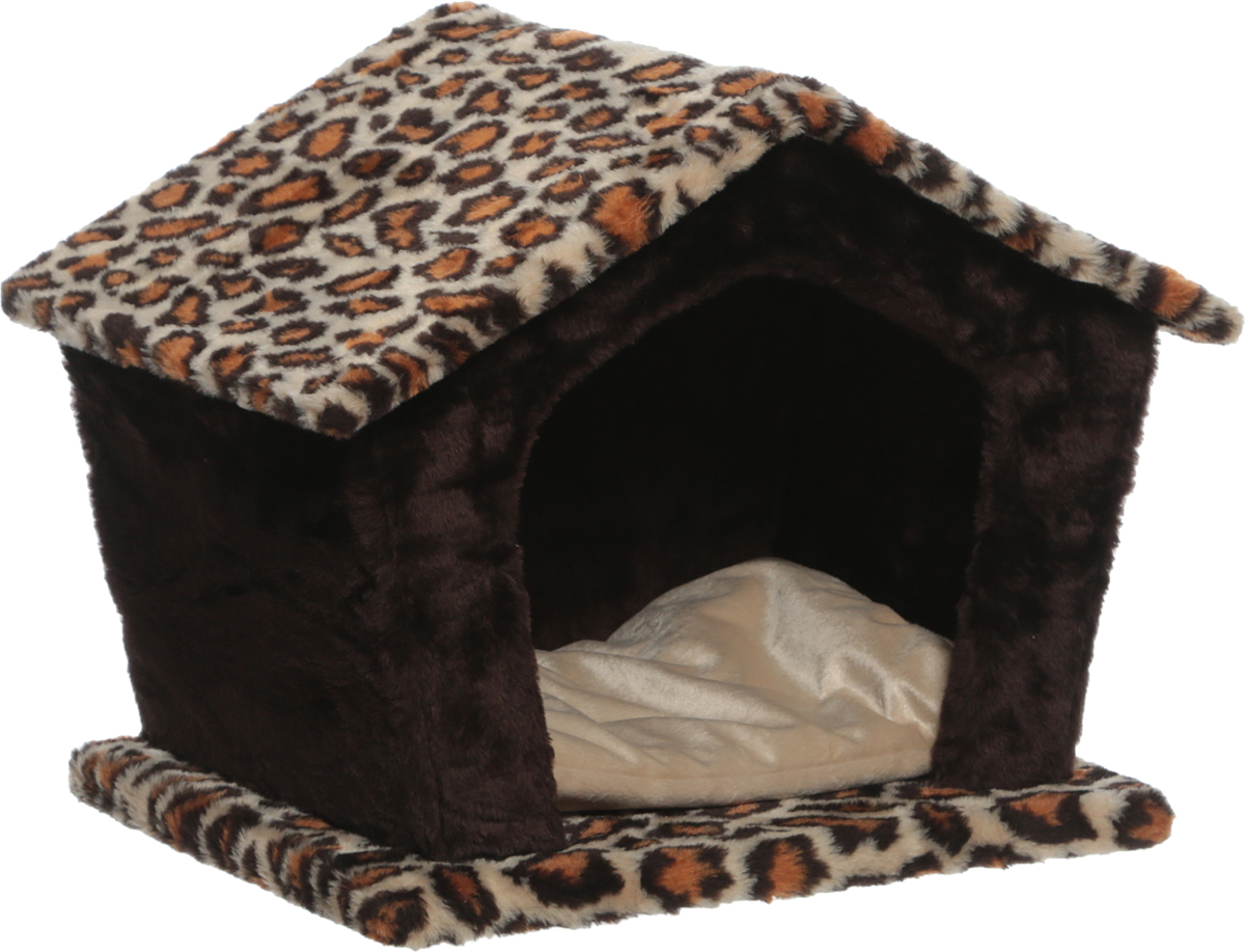 Домик для животных Велес Изба, цвет: темно-коричневый, леопардовый, 45 х 35 х 40 см