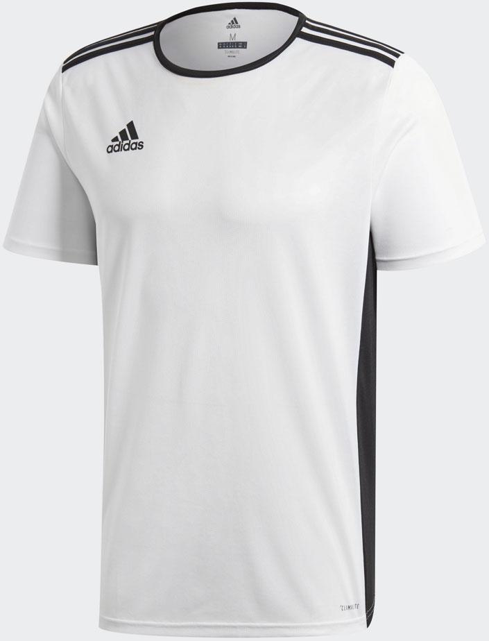 Футболка мужская Adidas Entrada 18 Jsy, цвет: белый, черный. CD8438. Размер M (48/50)CD8438Мужская футболка от Adidas выполнена из отводящей влагу ткани, благодаря чему она сохранит тело сухим во время длительных тренировок. Логотип adidas подчеркнет спортивный стиль.Ткань с технологией climalite быстро и эффективно отводит влагу с поверхности кожи, поддерживая комфортный микроклимат. Модель с контрастным круглым ворот и короткими рукавами оформлена контрастными боковыми панелями и термологотипом бренда на груди. Эта модель — часть экологической программы adidas: использованы технологии, сберегающие природные ресурсы; каждая нить имеет значение: переработанный полиэстер сохраняет природные ресурсы и уменьшает отходы производства.