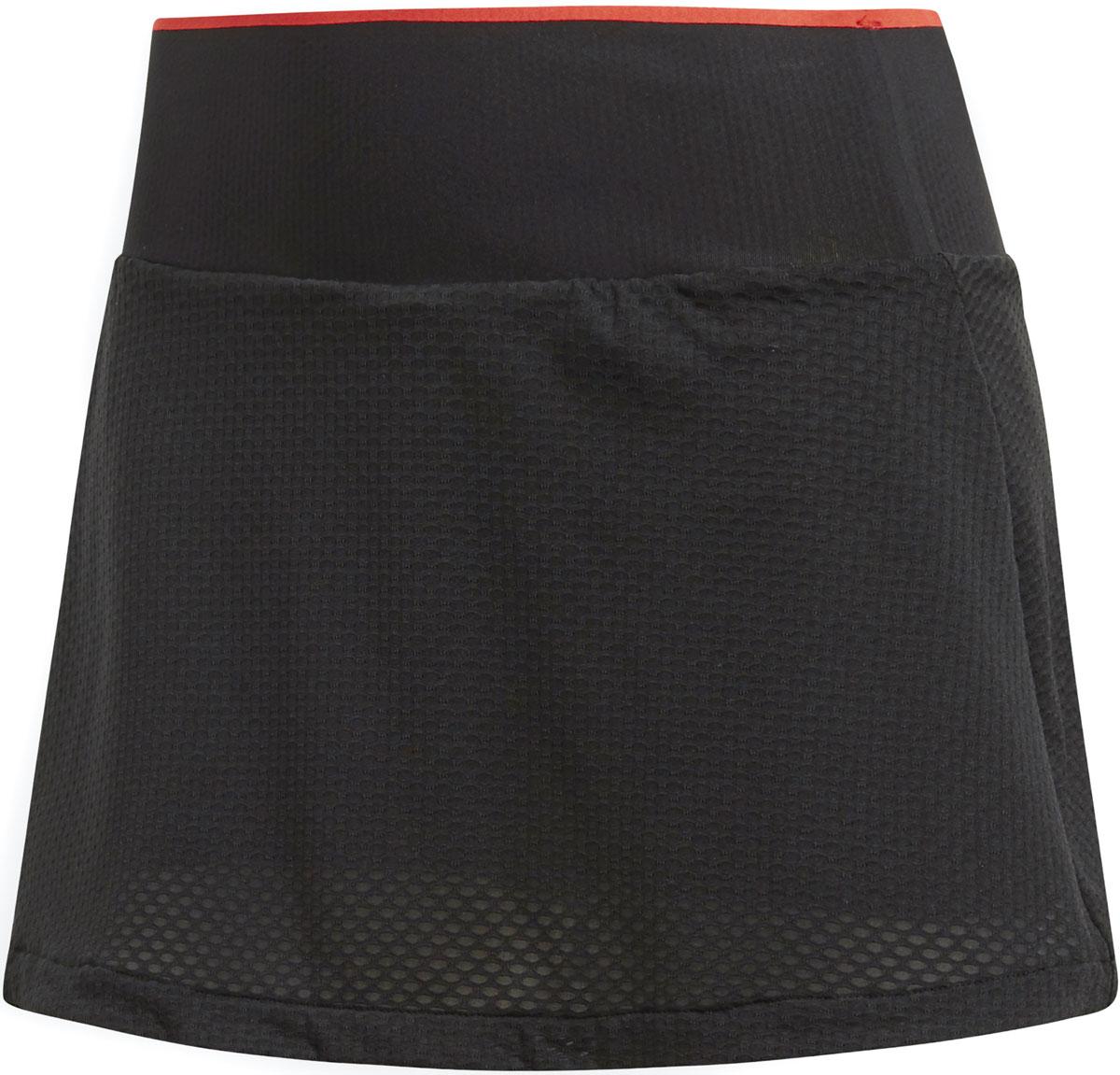 Юбка Adidas Bcade Skirt, цвет: черный. CE0369. Размер L (48/50)CE0369В этой теннисной юбке от Adidas ты будешь готова к самым напряженным моментам матча. Быстросохнущая дышащая ткань с технологией Climacool сохраняет приятное ощущение прохлады и свежести и защищает от УФ-лучей. Юбка имеет широкий эластичный пояс. Вшитые шорты предусмотрены для дополнительного комфорта. Юбка оформлена логотипом adidas у нижнего края и ярлычком Barricade, расположенным сзади на бедре.