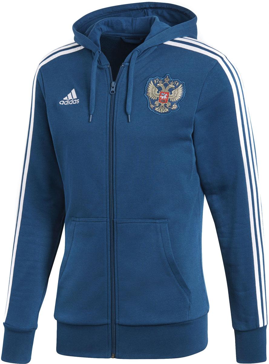 Худи мужское Adidas Rfu 3s Fz Hd, цвет: синий. CD5279. Размер S (44/46) футболка мужская adidas rfu 3s tee цвет красный cd5275 размер s 44 46