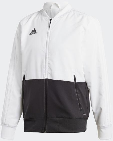 Олимпийка мужская Adidas Con18 Pre Jkt, цвет: белый, черный. BQ6631. Размер S (44/46)BQ6631Мужская олимпийка выполнена из функционального материала Climalite, который отводит влагу и обеспечивает комфорт в любой ситуации. Модель с длинными рукавами и воротником-стойкой дополнена карманами на молниях для полезных мелочей. Олимпийка застегивается на молнию, рукава имеют классические рифленые манжеты. На груди - фирменный логотип adidas.