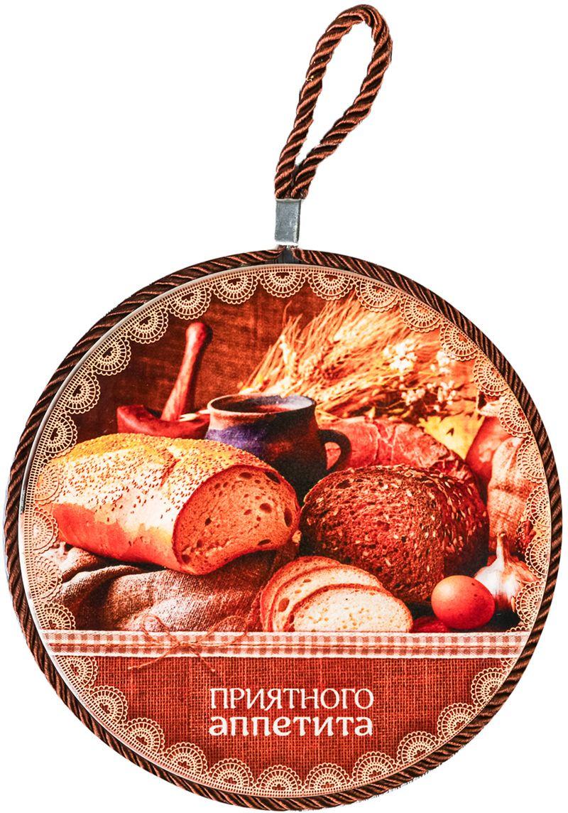 Подставка под горячее Приятного аппетита, 16 см2615918Яркая подставка прекрасно впишется в любой интерьер! Керамическое изделие выдерживает высокую температуру, пробковое дно защищает стол от горячих блюд.