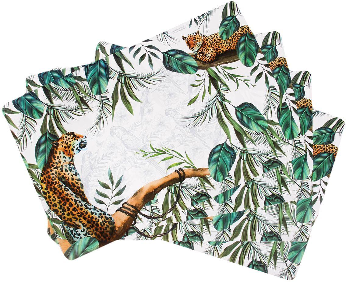 Набор подставок под горячее Леопарды, 43 х 28 см, 4 шт2639919Уникальные яркие подставки впишутся в любой интерьер!Пластиковые изделия выдержат высокую температуру и защитят поверхность стола от жара, а их стильный дизайн будет радовать глаз.