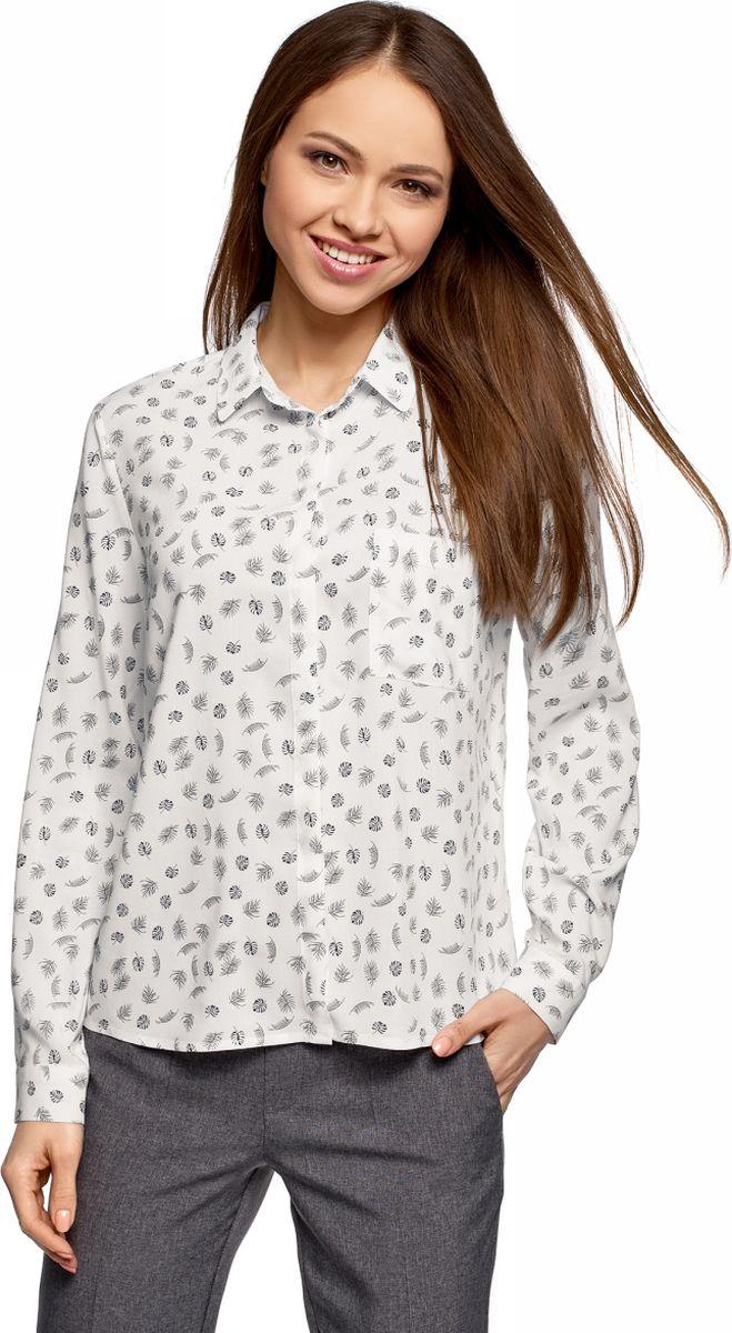 Блузка женская oodji Ultra, цвет: белый, темно-синий. 11401275/24681/1279O. Размер 34 (40-170)