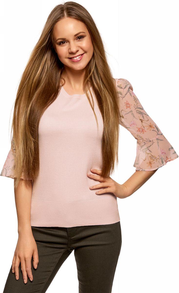 Джемпер женский oodji Ultra, цвет: светло-розовый. 63812634/48483/4040F. Размер M (46)63812634/48483/4040FДжемпер комбинированный с вырезом-капелькой на спине