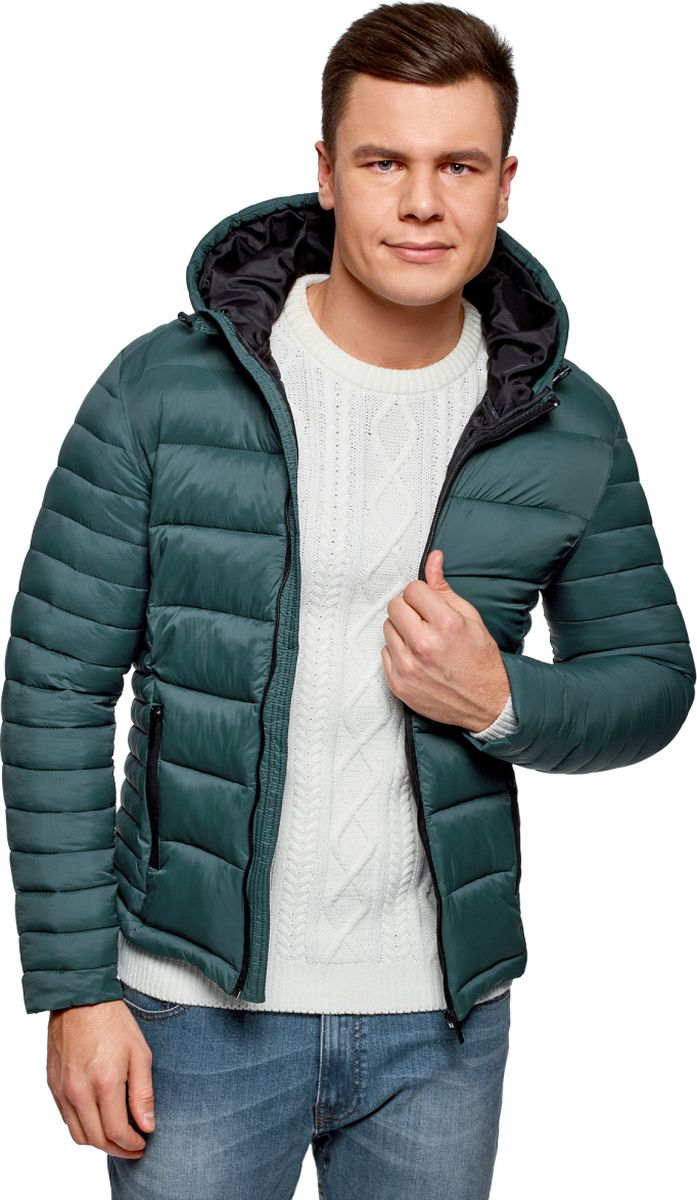Куртка мужская oodji Basic, цвет: изумрудный. 1B112008M/25278N/6D00N. Размер L (52/54-182)1B112008M/25278N/6D00NКуртка базовая с капюшоном
