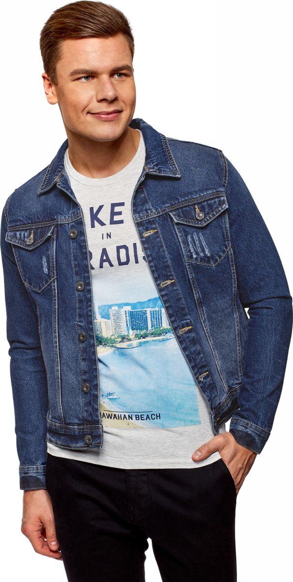 Куртка мужская oodji Lab, цвет: синий, джинс. 6L300007M/35771/7500W. Размер XL (56-182) джемперы