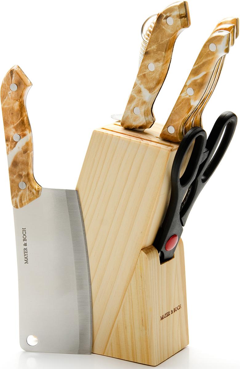 Удобный и функциональный набор ножей изготовлен из высококачественной нержавеющей стали. Специальный дизайн пластиковых ручек, не позволит ножам выскользнуть из вашей руки и обеспечит безопасную работу и комфорт при использовании. Предметы набора компактно размещаются в стильной подставке, которая выполнена из качественной древесины с полимерным покрытием. В набор также входит точилка, благодаря которой, Ваши ножи всегда будут заточены. Такой набор сэкономит место на рабочем столе и предоставит Вам все необходимые возможности в успешном приготовлении пищи. В набор входят: деревянная подставка, 5 ножей, ножницы и точилка для ножей.