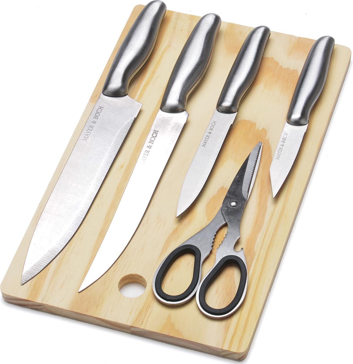 """Замечательный набор ножей """"Mayer&Boch"""" выполнен из высококачественной нержавеющей  стали и включает в себя: поварской нож, разделочный нож, универсальный нож, нож для  чистки, кухонные ножницы, и деревянную разделочную доску. Специальный дизайн ручек  из пластика обеспечит безопасную работу и комфортное положение в руке. Большая  деревянная разделочная доска, которая входит в набор, позволит легко выполнить даже  самую трудоемкую работу (например, очистить рыбу от костей или сделать отбивную) и при  этом не испачкать и не повредить поверхность стола. Также, этот набор может стать  отличным подарком для начинающей хозяйки, потому что он включает в себя все  необходимые ножи для приготовления пищи. Набор """"Mayer&Boch"""" станет для вас  отличным помощником на кухне. Подходит для мытья в посудомоечной машине."""