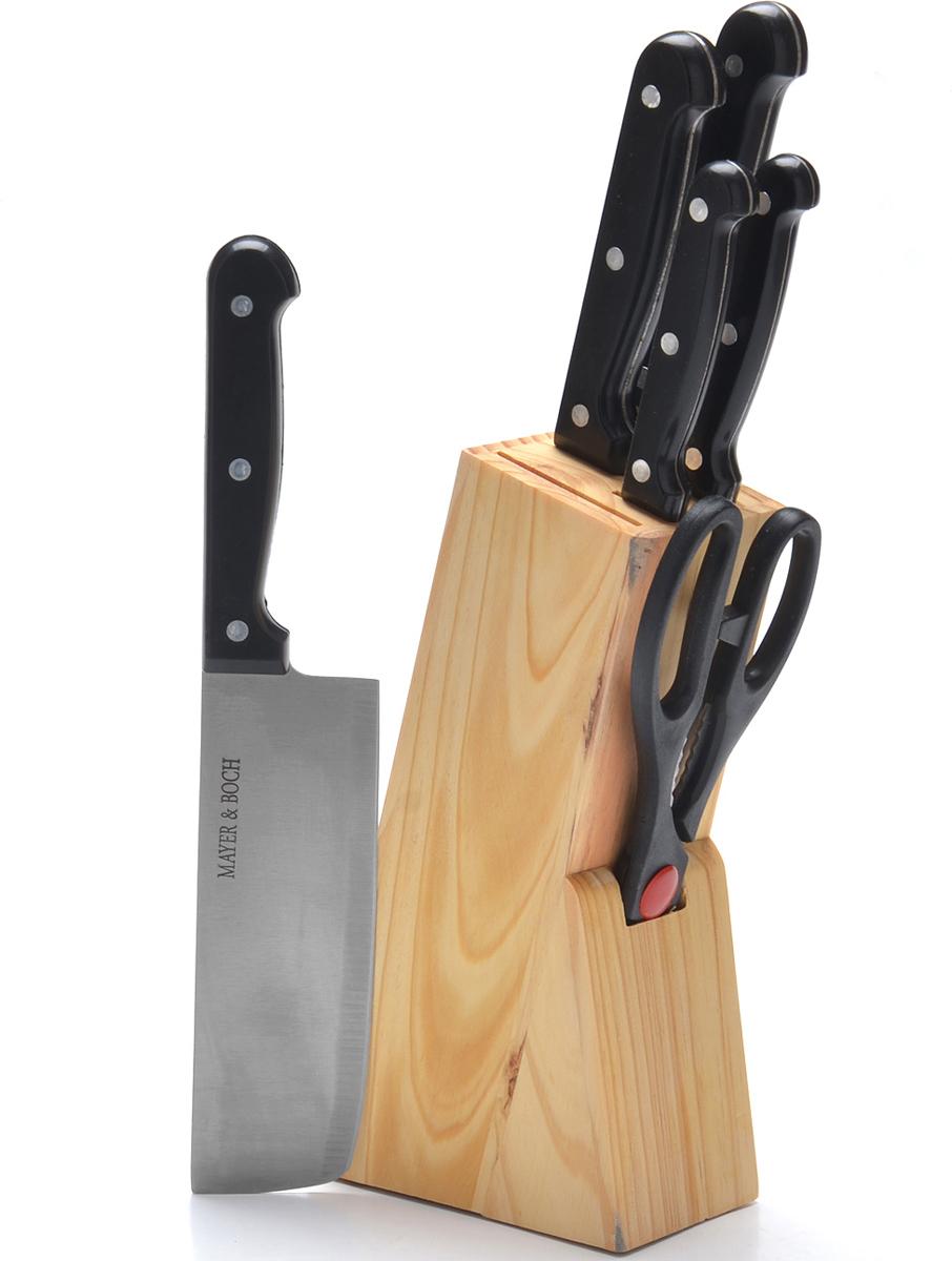 При изготовлении ножей используется высокоуглеродистая закаленная сталь, которая обеспечивает высокие режущие свойства кромки клинка. Сечение клинков ножей - клинообразно, что позволяет режущей кромке продолжительное время оставаться острой. Эргономичные рукоятки ножей, изготовленные из качественного пластика, обеспечивают безопасную работу и комфортное положение в руке. Предметы набора компактно размещаются в стильной деревянной подставке, с помощью которой вы сможете хранить все ножи в одном месте. Физические и практические свойства данного материала гарантируют длительный эксплуатационный период. Такой набор станет великолепным подарком и органично впишется в любой кухонный интерьер. Подходит для мытья в посудомоечной машине.