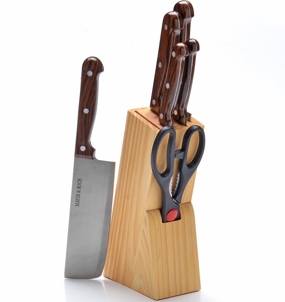 Набор ножей Mayer&Boch, на подставке, 7 предметов. 27426 набор кухонных ножей bohmann на подставке 7 предметов