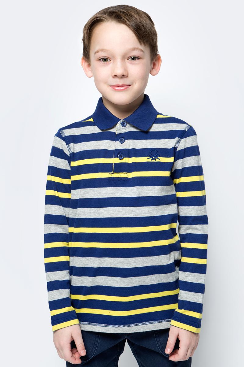 Поло для мальчика United Colors of Benetton, цвет: синий, серый, желтый. 3XB2C3070_901. Размер 1603XB2C3070_901Поло от United Colors of Benetton выполнено из натурального хлопкового трикотажа. Модель с длинными рукавами и отложным воротником на груди застегивается на пуговицы.