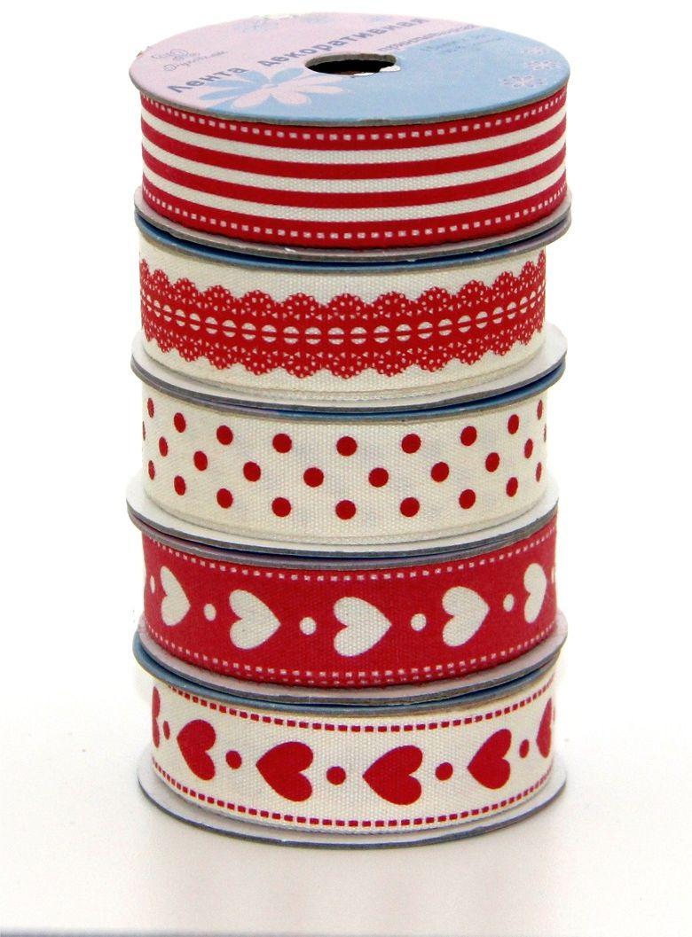 Набор лент Рукоделие, цвет: бежевый, красный, 1,5 см, 3 м, 5 шт где можно продать рукоделие в кемерово