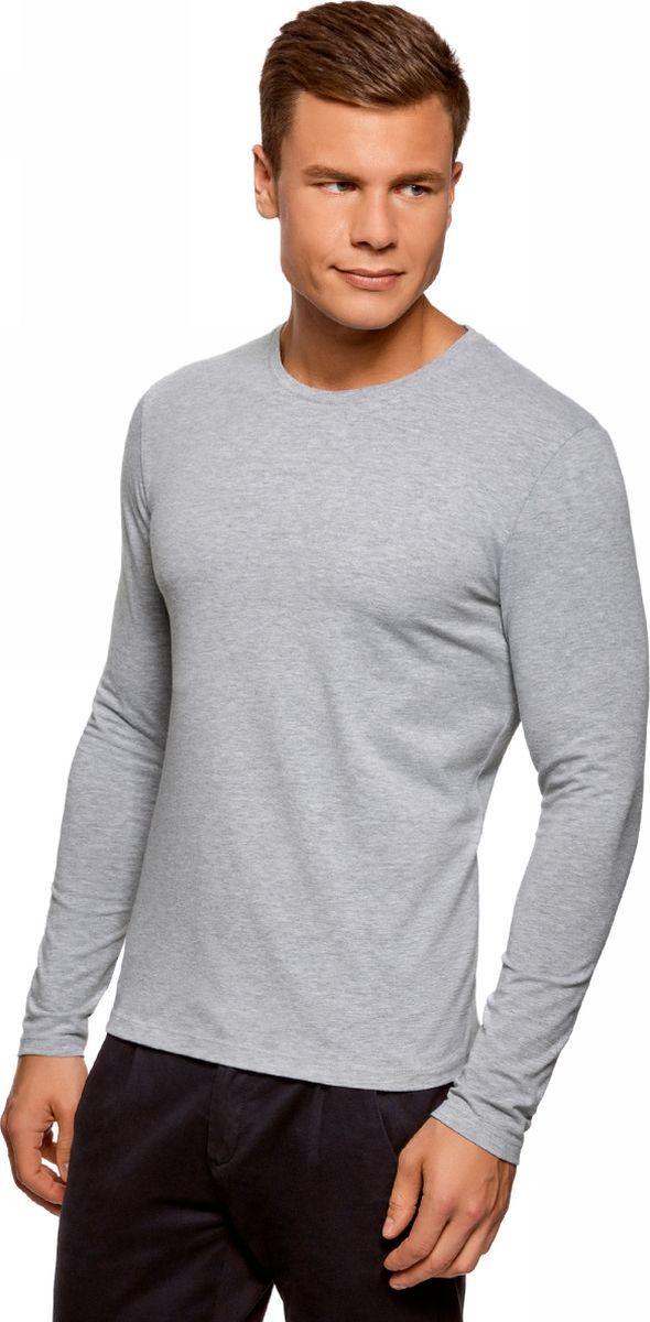 Лонгслив мужской oodji Basic, цвет: серый, темно-синий, 2 шт. 5B512004T2/46737N/1902N. Размер M (50)