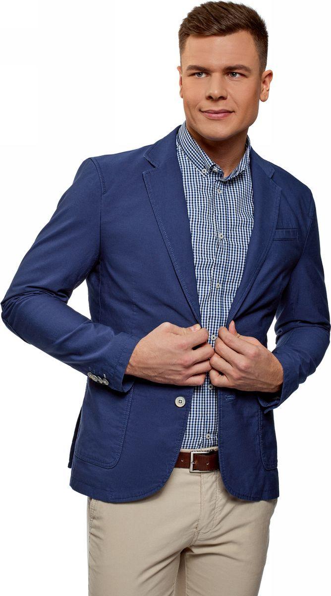 Пиджак мужской oodji Basic, цвет: синий. 2B510005M/39355N/7501N. Размер 52 (52-182)2B510005M/39355N/7501NМужской пиджак от oodji выполнен из натурального хлопка. Модель с накладными карманами, лацканами и длинными рукавами застегивается на пуговицы.