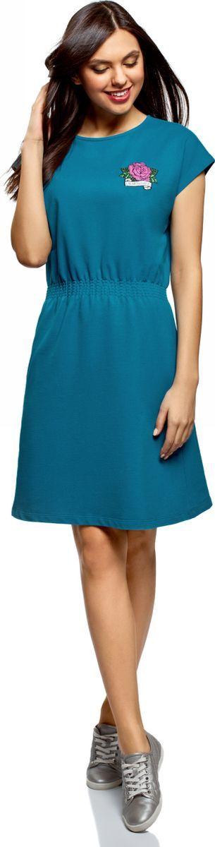 Платье oodji Ultra, цвет: бирюзовый. 14008021-1/46155/7300P. Размер XXS (40)14008021-1/46155/7300PТрикотажное платье от oodji выполнено из натурального хлопка. Модель с короткими цельнокроеными рукавами и круглым вырезом горловины на талии дополнена эластичной резинкой.