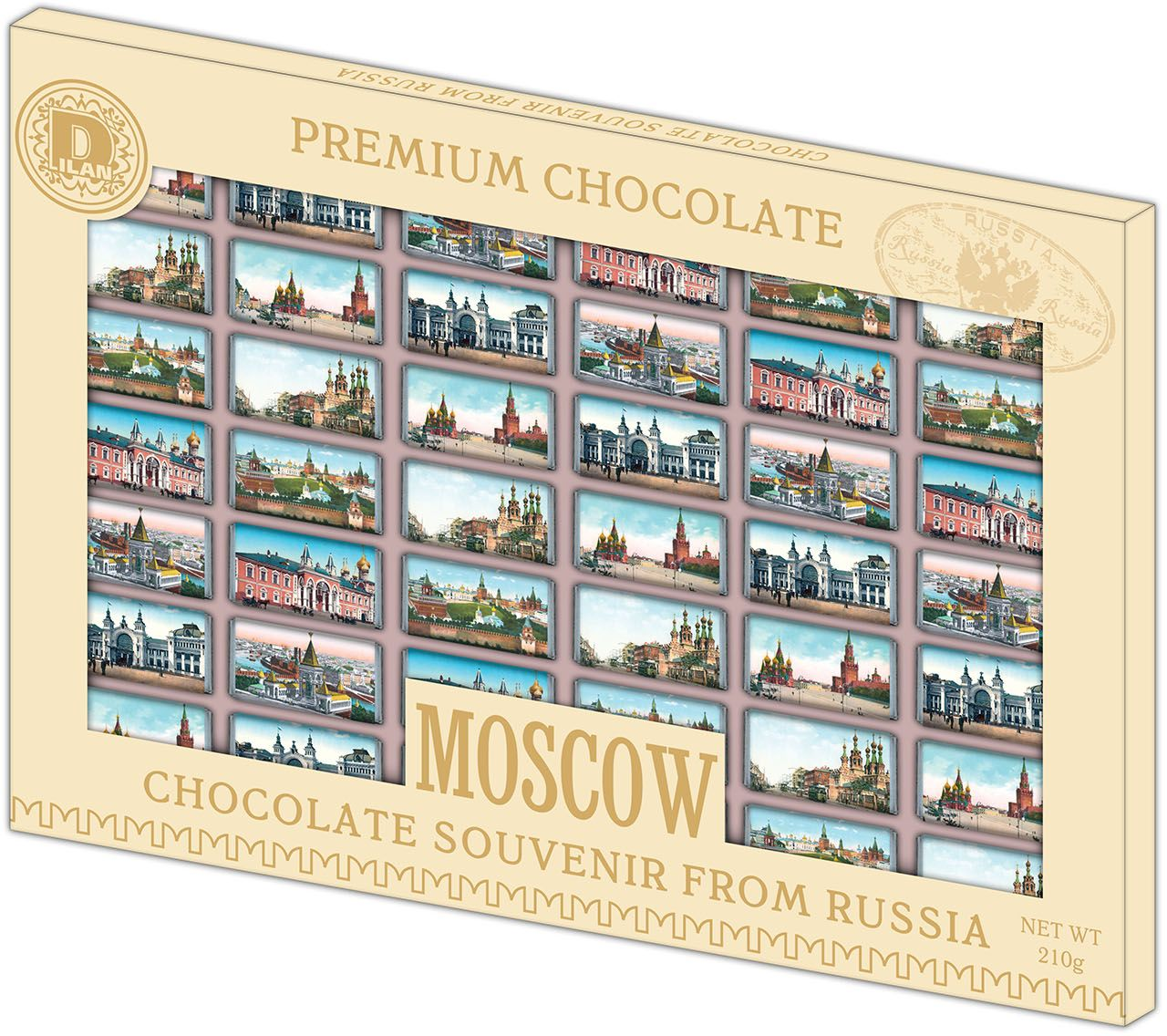 Дилан+ Шоколадный набор Москва Старинная, 42 шт по 5 г4620001510191Темный шоколад – это шоколад, в котором 52% какао. Это вкусный, не приторно сладкий и полезный вид шоколада. К тому же в нем немного калорий – отличный выбор для сладкоежек. Темный шоколад любят взрослые и дети, он содержит много минеральных веществ и антиоксидантов, а еще он отлично поднимает настроение. Мы используем натуральное сырье высшего качества, чтобы наши шоколадные наборы были вкусными и полезными: здесь нет вредных добавок и красителей.
