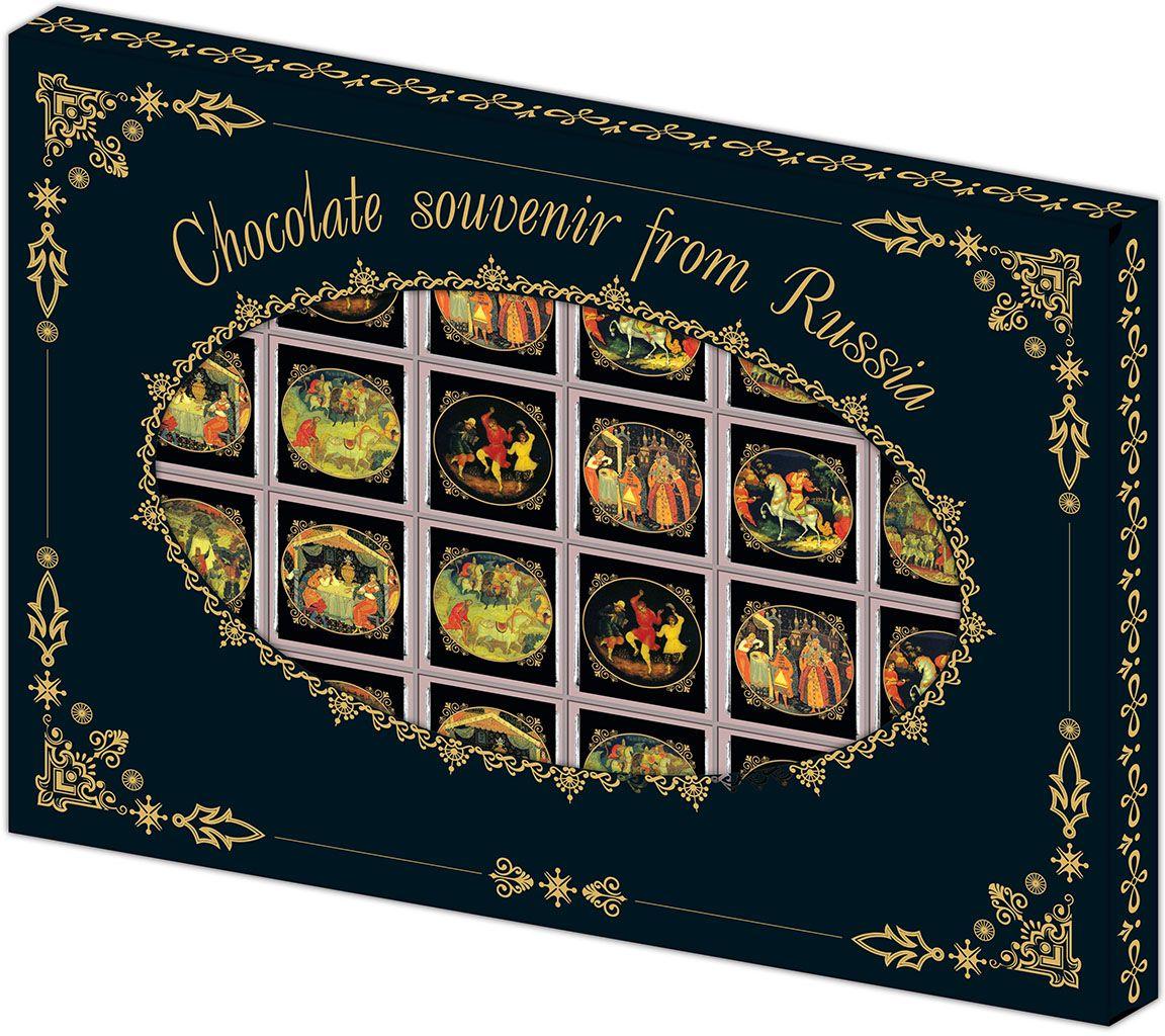 Дилан+ Шоколадный набор Палех, 24 шт по 5 г4620001510221Темный шоколад – это шоколад, в котором 52% какао. Это вкусный, не приторно сладкий и полезный вид шоколада. К тому же в нем немного калорий – отличный выбор для сладкоежек. Темный шоколад любят взрослые и дети, он содержит много минеральных веществ и антиоксидантов, а еще он отлично поднимает настроение. Мы используем натуральное сырье высшего качества, чтобы наши шоколадные наборы были вкусными и полезными: здесь нет вредных добавок и красителей.