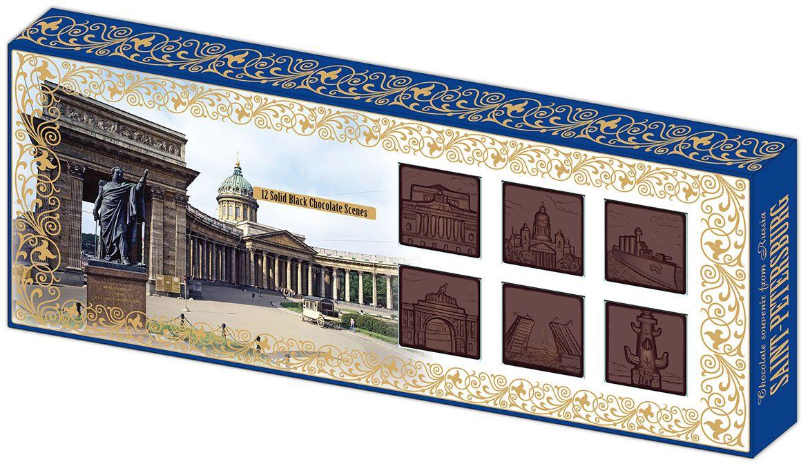 Дилан+ Шоколадный набор Санкт-Петербург барельеф, 12 шт по 8,3 г4620001510672Темный шоколад – это шоколад, в котором 52% какао. Это вкусный, не приторно сладкий и полезный вид шоколада. К тому же в нем немного калорий – отличный выбор для сладкоежек. Темный шоколад любят взрослые и дети, он содержит много минеральных веществ и антиоксидантов, а еще он отлично поднимает настроение. Мы используем натуральное сырье высшего качества, чтобы наши шоколадные наборы были вкусными и полезными: здесь нет вредных добавок и красителей.