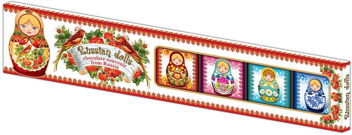 Дилан+ Шоколадный набор Матрешки, 7 шт по 10 г4620001512577Темный шоколад – это шоколад, в котором 52% какао. Это вкусный, не приторно сладкий и полезный вид шоколада. К тому же в нем немного калорий – отличный выбор для сладкоежек. Темный шоколад любят взрослые и дети, он содержит много минеральных веществ и антиоксидантов, а еще он отлично поднимает настроение. Мы используем натуральное сырье высшего качества, чтобы наши шоколадные наборы были вкусными и полезными: здесь нет вредных добавок и красителей.
