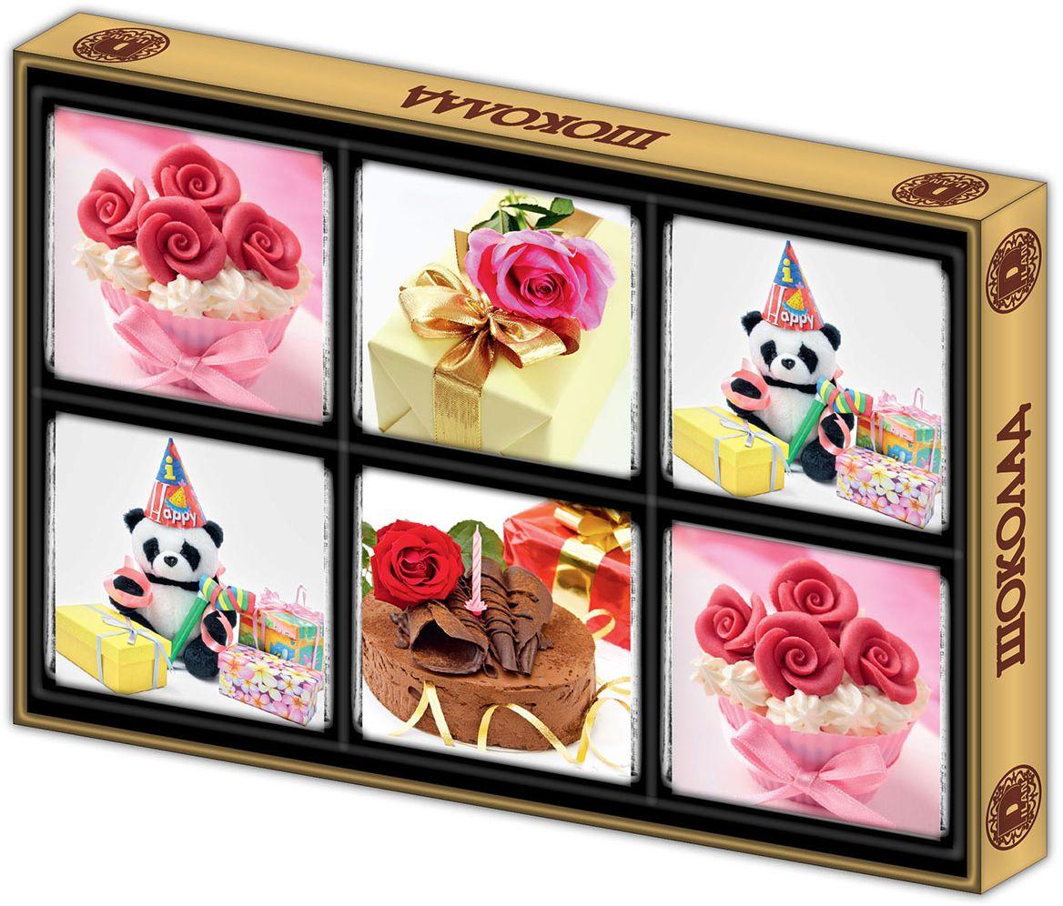 Дилан+ Шоколадный набор День Рождения, 6 шт по 10 г chokocat с днем рождения темный шоколад 85 г