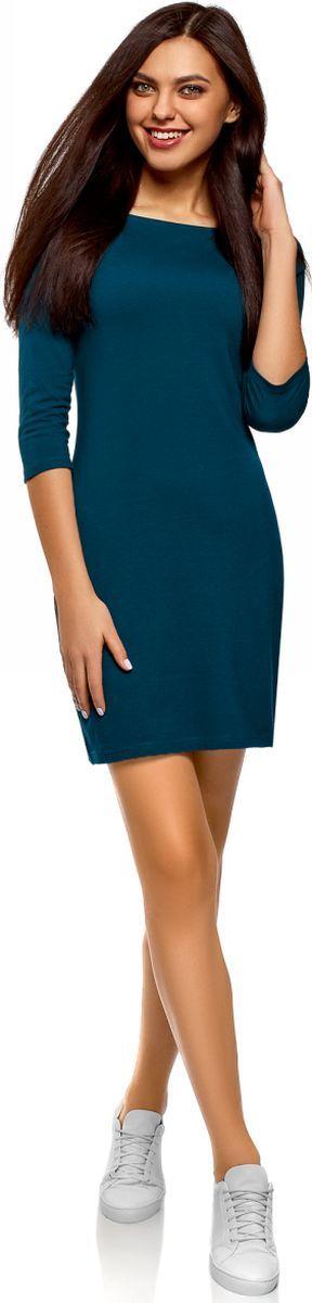 Платье oodji Ultra, цвет: темно-бирюзовый. 14001071-2B/46148/7901N. Размер L (48) стоимость