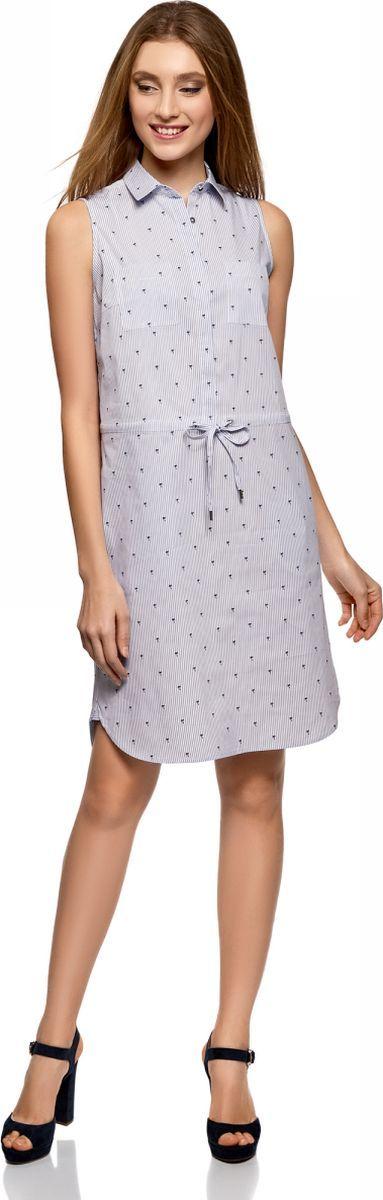 Платье женское oodji Ultra, цвет: белый, темно-синий. 11901147-4B/45202/1079O. Размер 42 (48-170)11901147-4B/45202/1079OПлатье хлопковое на кулиске