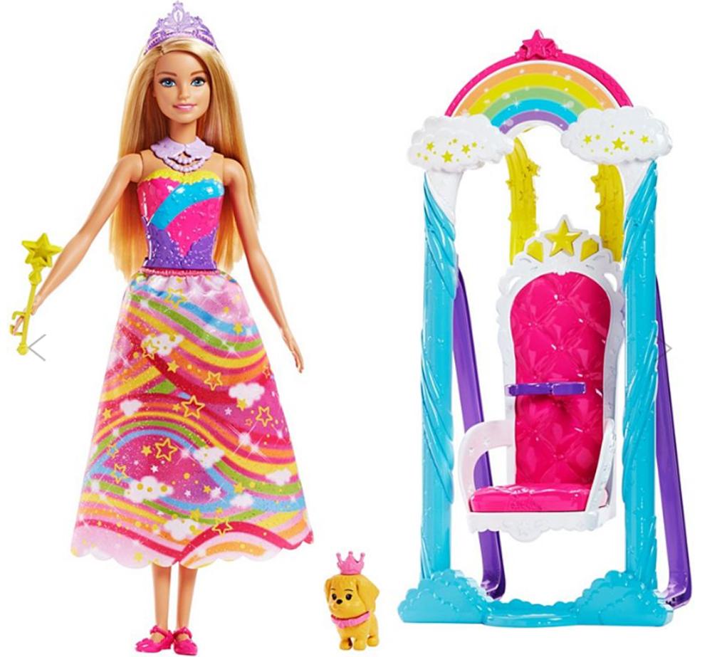 Barbie Игровой набор с куклой Принцесса и радужные качели