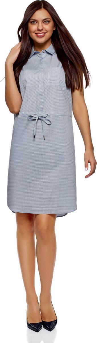 Платье женское oodji Ultra, цвет: голубой, черный. 11901147-5B/42468/7029G. Размер 34 (40-170)11901147-5B/42468/7029GПлатье хлопковое на кулиске