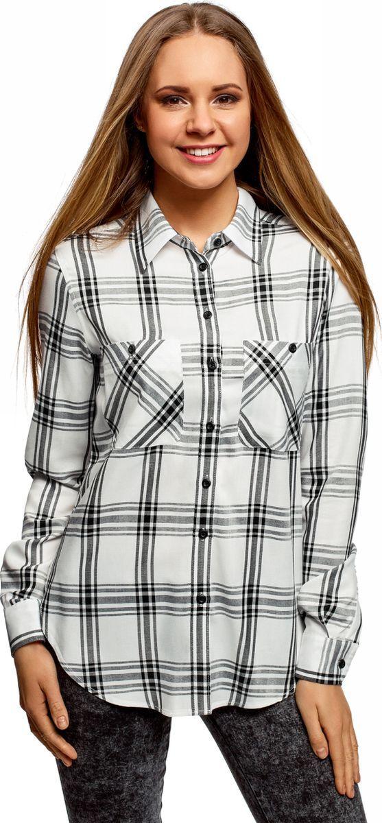 Рубашка женская oodji Ultra, цвет: белый, черный. 13L11007/47701/1229C. Размер 40 (46-170)13L11007/47701/1229CРубашка клетчатая из вискозы