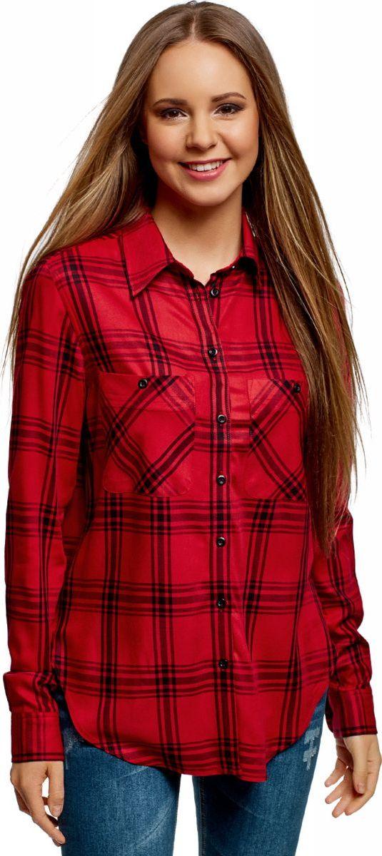 Рубашка женская oodji Ultra, цвет: красный, черный. 13L11007/47701/4529C. Размер 34 (40-170) женская рубашка european and american big c002617 2015