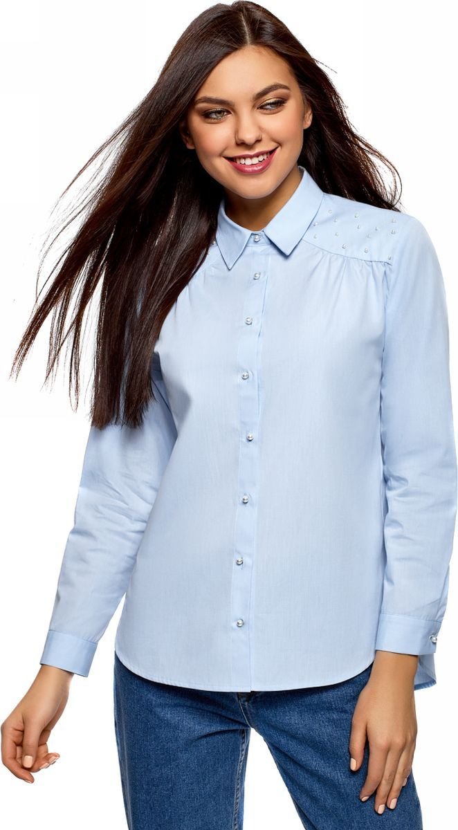 Рубашка женская oodji Ultra, цвет: серо-синий, белый. 11411185/26468/7410N. Размер 38 (44-170)11411185/26468/7410NРубашка хлопковая с декором