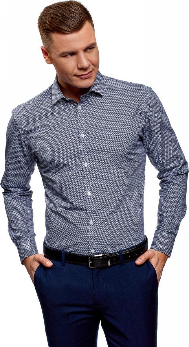 Рубашка мужская oodji Basic, цвет: белый, синий. 3B110026M/19370N/1075G. Размер 41 (50-182)3B110026M/19370N/1075GРубашка базовая из хлопка