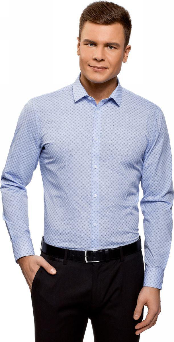 Рубашка мужская oodji Basic, цвет: голубой, белый. 3B110026M/19370N/7010G. Размер 41 (50-182)3B110026M/19370N/7010GРубашка базовая из хлопка
