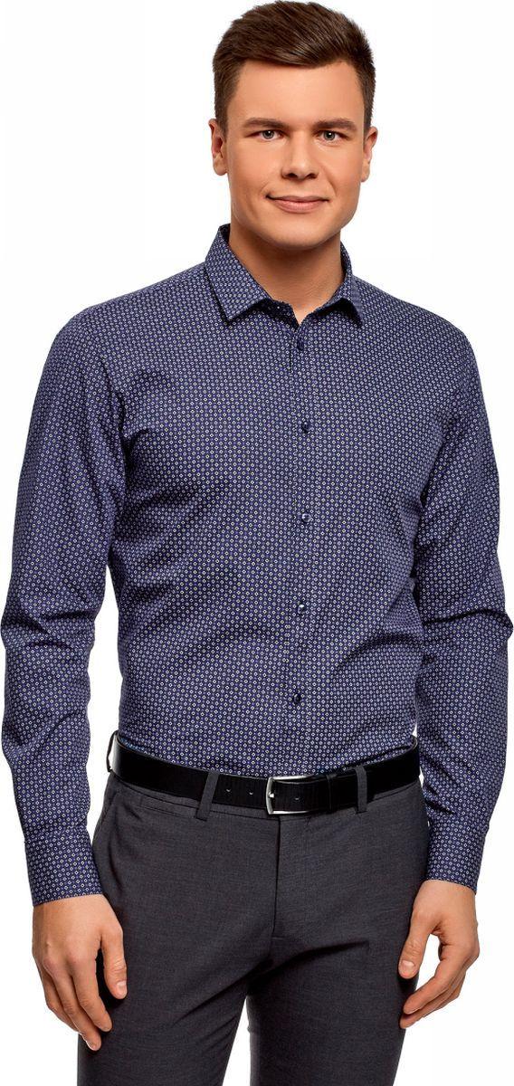 Рубашка мужская oodji Basic, цвет: темно-синий, белый. 3B110026M/19370N/7910G. Размер 37 (42-182) держатель туалетной бумаги keuco elegance с крышкой 11660010000