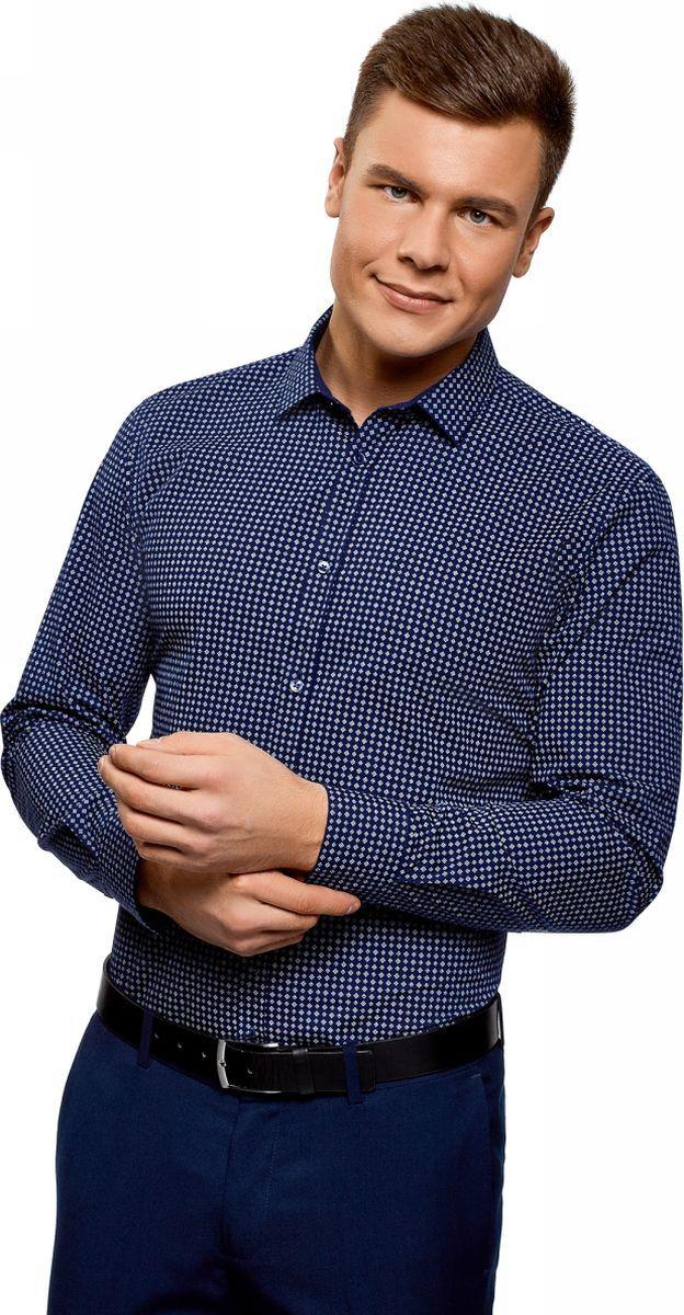Рубашка мужская oodji Basic, цвет: темно-синий, голубой. 3B110026M/19370N/7970G. Размер 42 (52-182)3B110026M/19370N/7970GРубашка базовая из хлопка