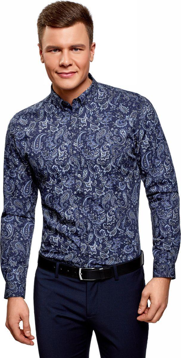 Рубашка мужская oodji Basic, цвет: темно-синий, синий. 3B110027M/19370N/7975E. Размер 42 (52-182)3B110027M/19370N/7975EРубашка принтованная из хлопка