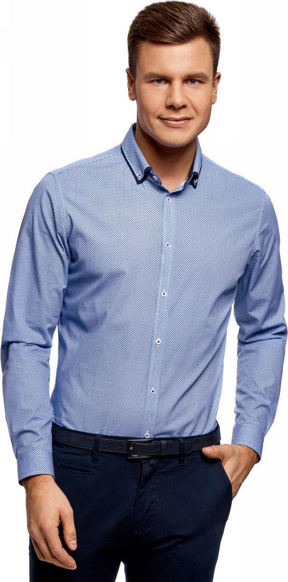 Рубашка мужская oodji Lab, цвет: белый, синий. 3L110310M/19370N/1075G. Размер 43 (54-182)3L110310M/19370N/1075GРубашка хлопковая с контрастным воротником