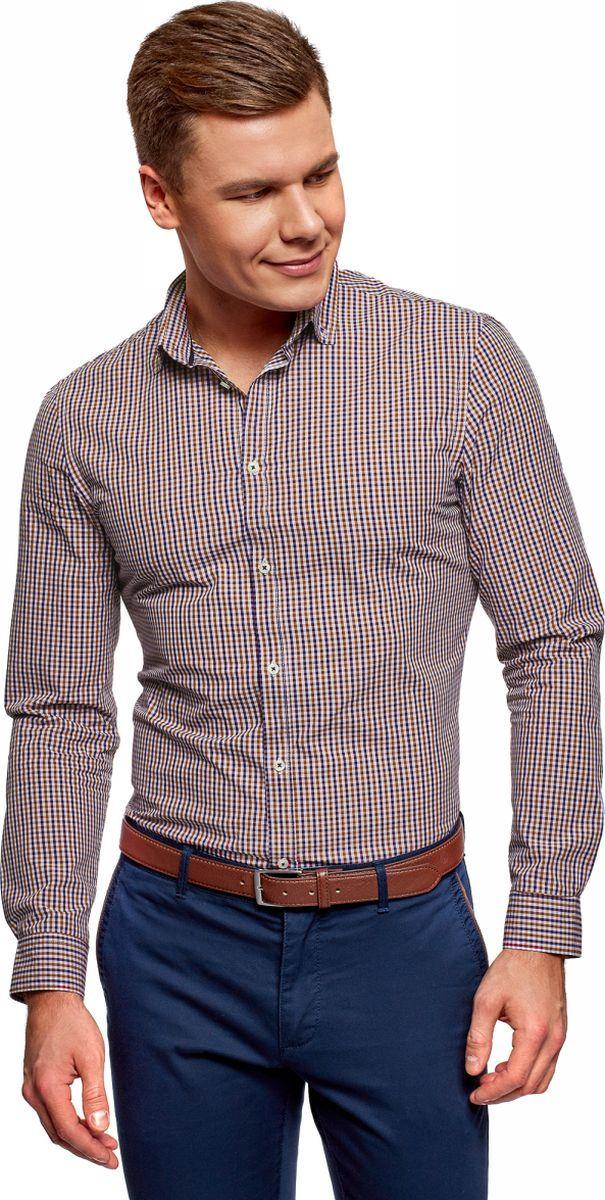 Рубашка мужская oodji Lab, цвет: темно-синий, красный. 3L110319M/47823N/7945C. Размер 42 (52-182)3L110319M/47823N/7945CРубашка хлопковая в клетку