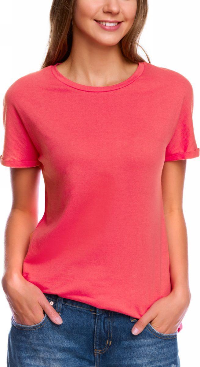 Футболка женская oodji Collection, цвет: ярко-розовый. 24708003B/46154/4D00N. Размер XS (42) футболка женская oodji collection цвет белый 24711002 46840 1000n размер xs 42